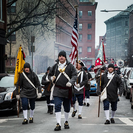 Colonial minutemen in the Christmas Parade