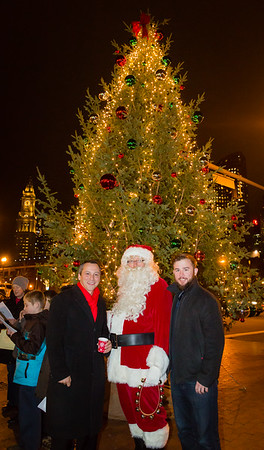 Aaron and Patrick with Santa at Cross St Tree Lighting