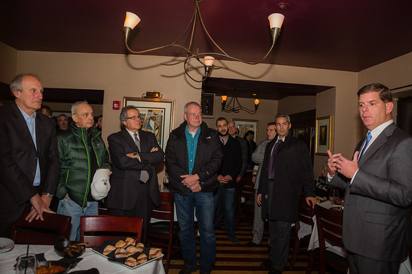 Mayor-Elect Marty Walsh (right) speaks at the Bricco fundraiser.CR2