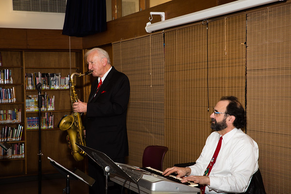 Elmer Broodis and John Acaro performing at the North End Library Open House