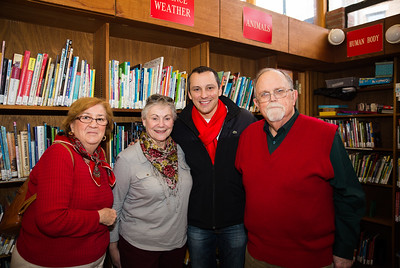 Friends of the North End Library (L-R) Liz Greene, Phyllis Vitti, State Rep. Aaron Michlewitz and Peter Greene