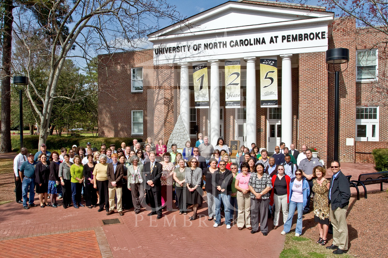 UNCP unveils banners in front of Old Main to commemorate the 125th anniversary of the school on Monday, March 12th, 2012.