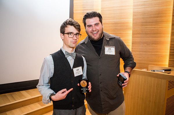 Nicholas Tisch and Drake Evans receive Student Judges' Choice Awards.