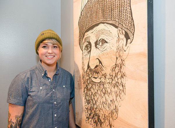 KCAD student Erica Long with her piece Father Nature.