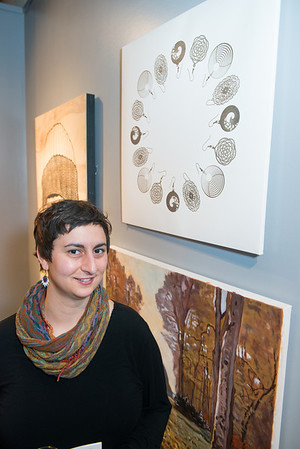 KCAD MFA student Eana Agopian with her work: Earring Ring I.