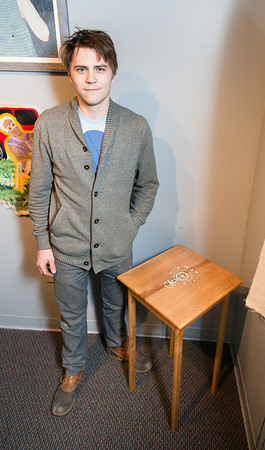 KCAD alumni Josh McVety with his piece Sun Table.