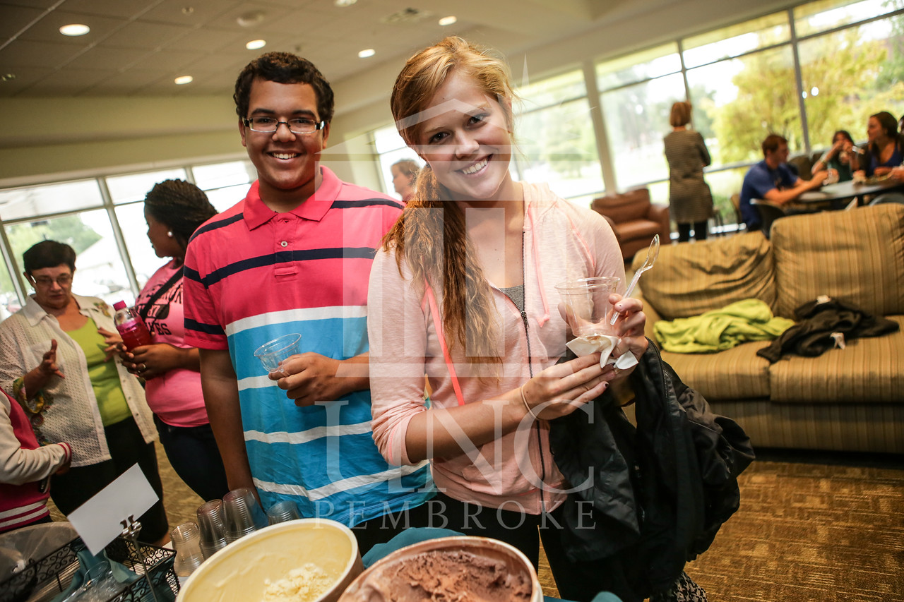 UNCP celebrates with an Ice Cream Social in Cypress Hall on Friday, August 16th 2013. ice_cream_Cypress_0007.JPG