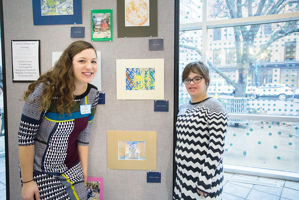 Gabe Mulder, KCAD student teacher (left) and the student she worked with: Madeline Lenhardt (right).