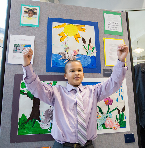 Darron McFaddon in front of his art.