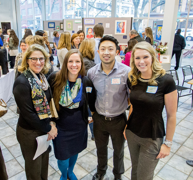 Donna St. John, KCAD Art Education Professor (far left), and three of her KCAD student teachers: Liz Bartlett, Chris Nguyen, and Michelle Voss (left to right).