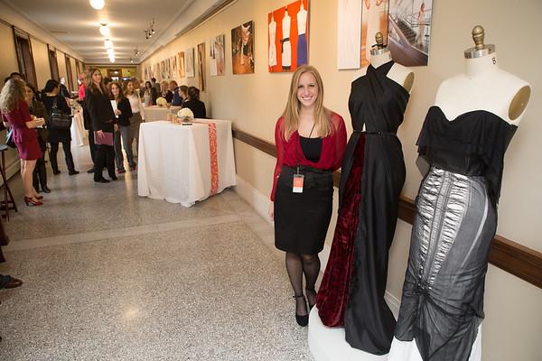 Fashion Studies student Emily Prchlik with her design.