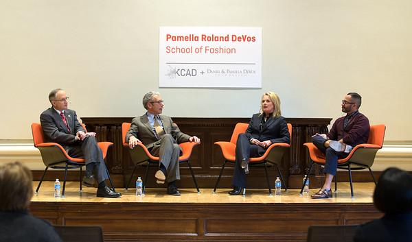 (left to right) Dr. David Eisler (Ferris President), Dr. David Rosen (KCAD President), Pamella Roland Devos, David Rodriguez (Pamella's Vice President of Design and Brand Recognition).