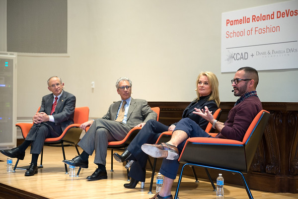 (left to right) Dr. David Eisler (Ferris President), Dr. David Rosen (KCAD President), Pamella Roland Devos, David Rodriguez (Pamella's Vice President of Design and Brand Recognition).  Photography by Claire Lea.