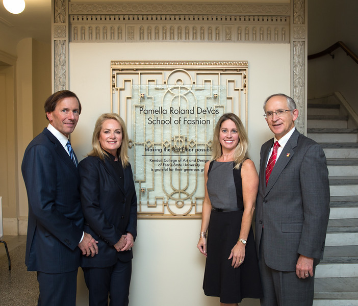(left to right) Dan DeVos (husband of Pamella), Pamella Roland Devos, Lori Faulkner (KCAD Fashion Studies Chair), Dr. David Eisler (Ferris President).