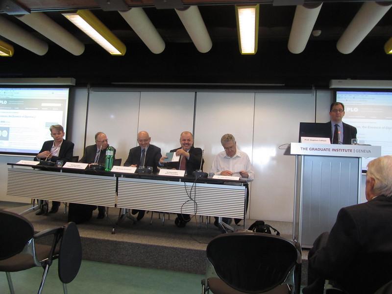 Mr Jean-Christophe Nothias, Ambassador Francois Nordmann, Dr Jovan Kurbalija, Amb. Petru Dumitriu, Dr Aldo Matteucci and Prof. Stephen Calleya
