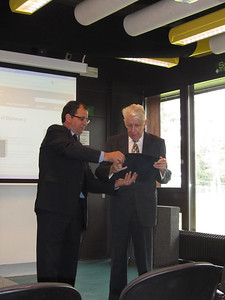 Professor Stephen Calleya, Director of the Mediterranean Academy of Diplomatic Studies, presented a special gift to Professor Dietrich Kappeler on the occasion of his 80th birthday