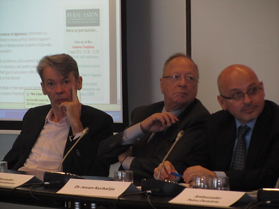 Mr Jean-Christophe Nothias, Ambassador Francois Nordmann, Dr Jovan Kurbalija