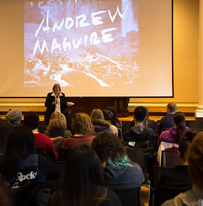 Professor Darlene Kaczmarczyk introduces Andrew Maguire.