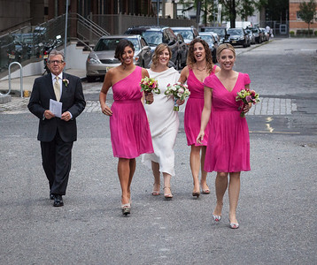 The bridal party is on the move.