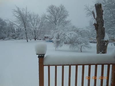 Our back deck Feb. snowstorm