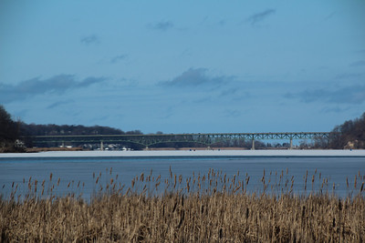Irondequoit Bay Bridge, Rochester, NY with lens filter.