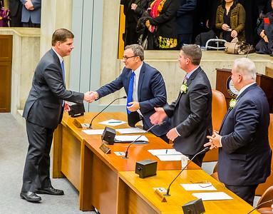 Mayor Marty Walsh shaking hands with Councilor Sal LaMattina at the inaugural City Council meeting