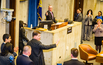 Boston City Council President Bill Linehan recognizes Mayor Marty Walsh in the Council Chambers