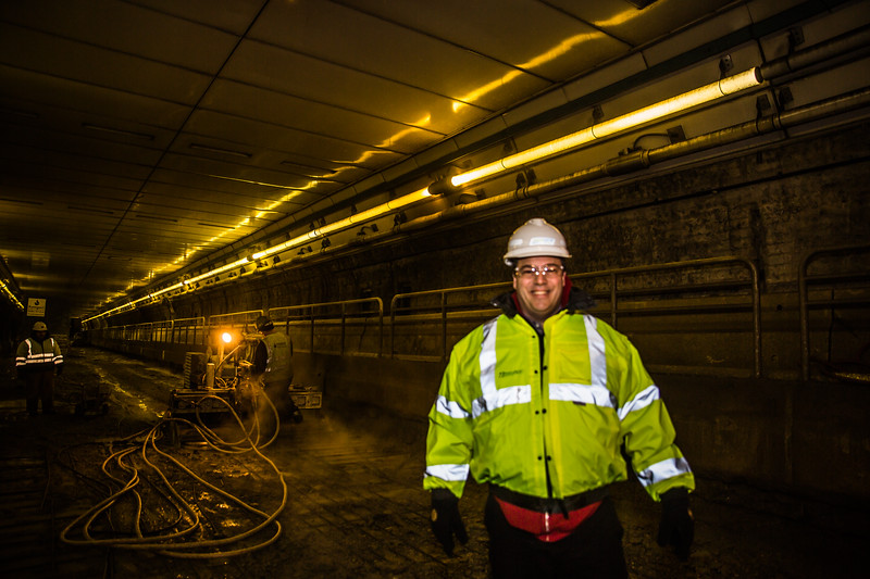 MassDOT's John Romano inside the tunnel