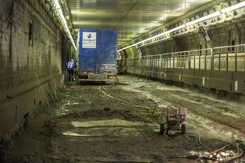 A muddy mess inside the tunnel