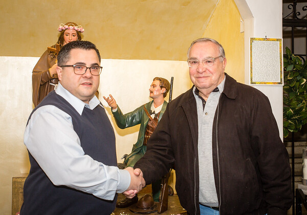 New President Danny Puccio (left) for 2014 Santa Rosalia di Palermo Society after sworn in by Sr. Member Frank Longo (right)