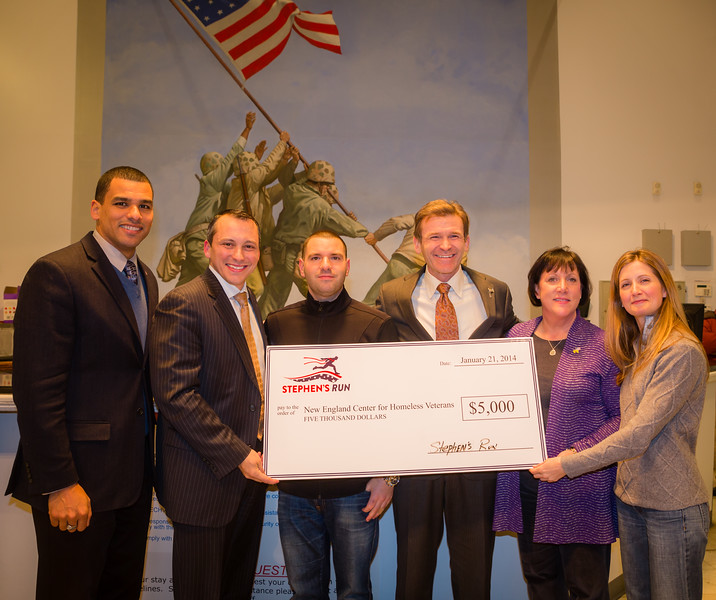 Stephen's Run Organizers present donation check to New England Center for Homeless Veterans; (L-R) Boston Commissioner of Veterans Services Francisco Urena, State Representative Aaron Michlewitz, Matthew Imbergamo, NECHV President Andrew McCawley, Sandra Harcourt and Amy Hand