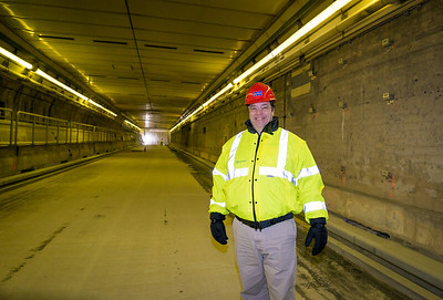 MassDOT Community Liasion, John Romano inside the Callahan Tunnel