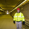 MassDOT Community Liasion, John Romano inside the Callahan Tunnel