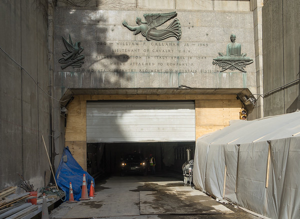 For the concrete work, the tunnel was heated with a door at the entrance