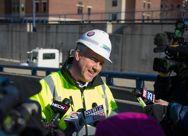 Frank DePaola, MassDOT Highway Administrator, speaks to reporters outside the Callahan Tunnel
