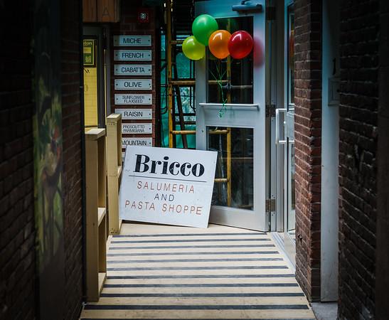 Entering Board Alley with the new Bricco Salumeria & Pasta Shoppe