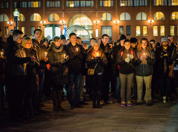 Candelight Vigil for Eric Munsell on Boston Waterfront