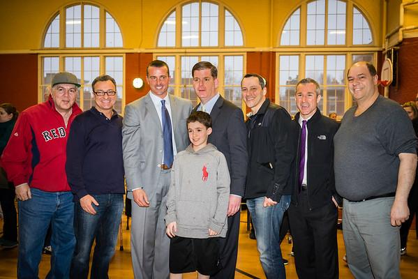 (L-R) Mike Giannasoli, Councilor Sal LaMattina, Chris Herren, Mayor Marty Walsh, Rep. Aaron Michlewitz, Stephen Passacantilli, John Romano with Nazzaro Youth in front