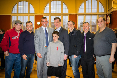 (L-R) Mike Giannasoli, Councilor Sal LaMattina, Chris Herren, Mayor Marty Walsh, Rep. Aaron Michlewitz, Stephen Passacantilli, John Romano with Nazzaro Youth in front