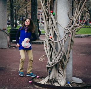 Hiding the eggs at Christopher Columbus Park