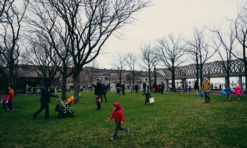 Running in the park at the Egg Hunt