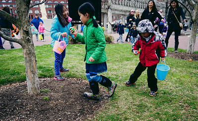 Kids gathering eggs at hunt