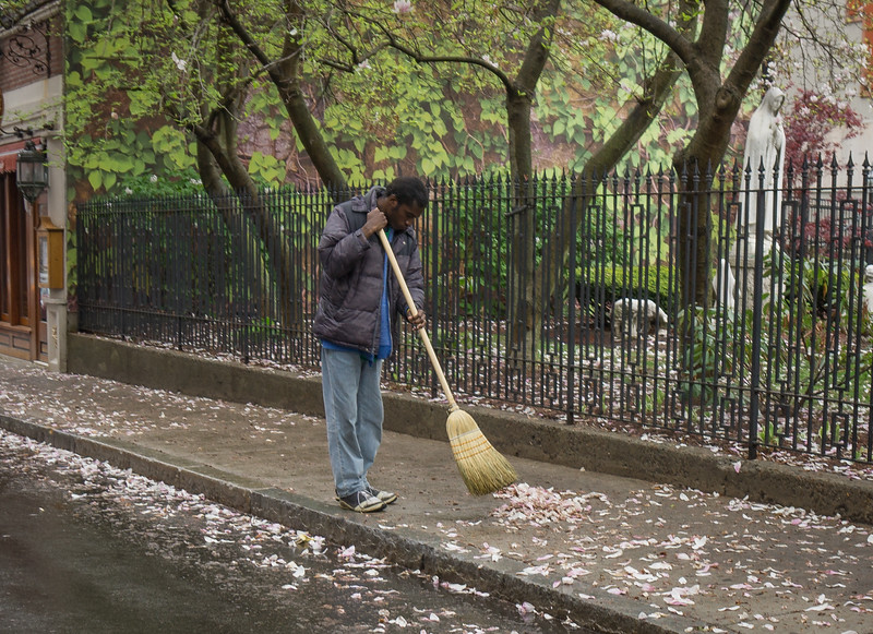 A worker from the NE Beautification Committee on Prince Street
