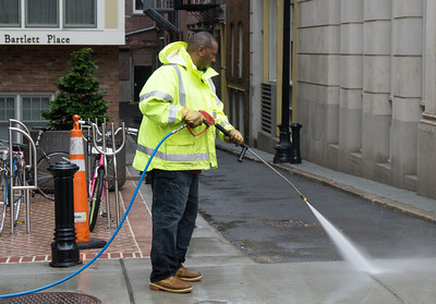 Public Works brought out their powerwashing truck to clean the sidewalks