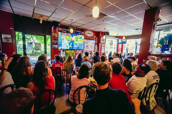 USA crowd gathers at Caffe Dello Sport