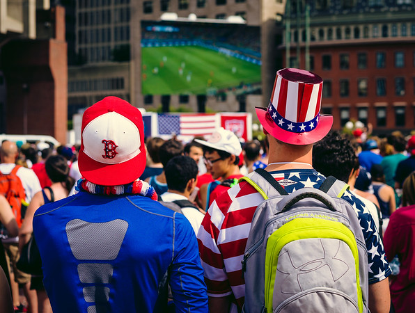 USA decorated fans at City Hall Plaza