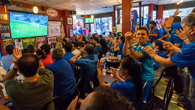 Excitement during the game at Caffe Dello Sport