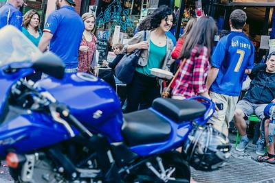 Crowds outside Caffe dello Sport