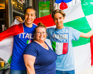 Caffe Paradiso owner, Adrianna DiStefano, with Italia fans