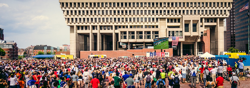 Thousands gather at City Hall Plaza for USA vs. Belgium